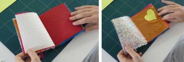 Livres en différents matériaux réalisés pendant l'atelier